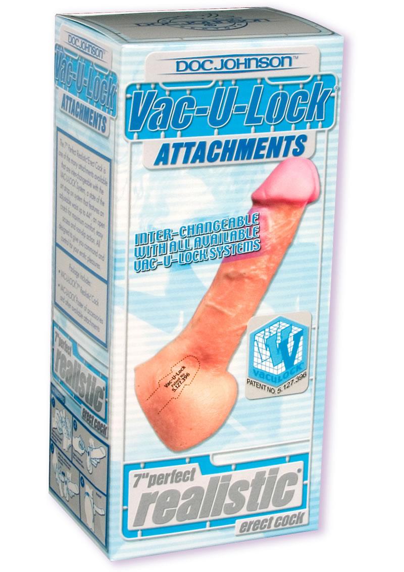 Vac U Lock Perfect Realistic Cock 7 Inch Flesh