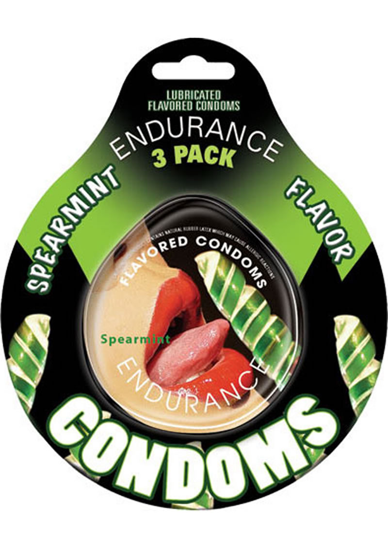 Lubricated Flavored Endurance Condoms 3 Per Pack Spearmint