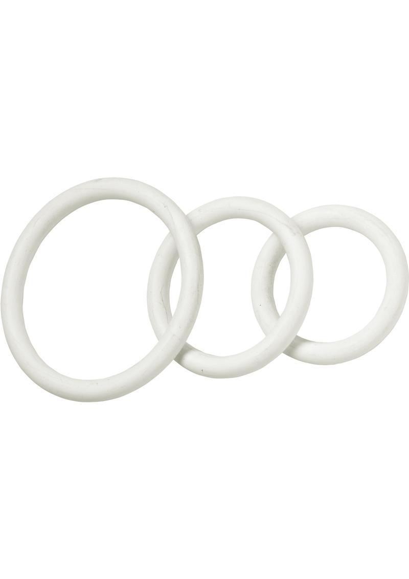 Nitrile Cock Ring Set 3 Sizes Per Pack White