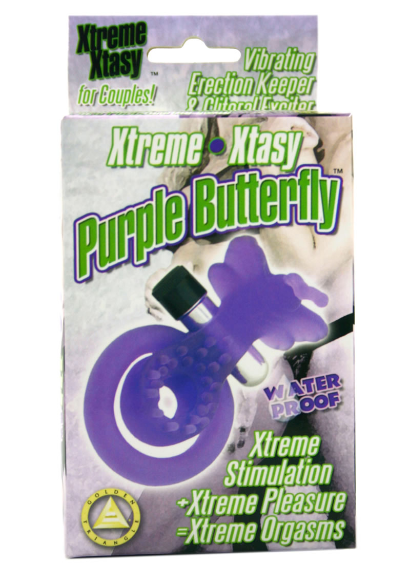 XTREME XTASY PURPLE BUTTERFLY VIBRATING COCK RING WATERPROOF