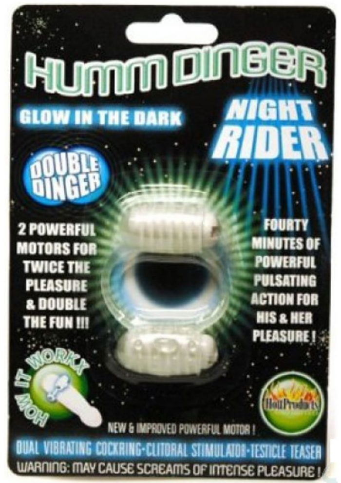 Humm Dinger Night Rider Double Dinger Vibrating Cock Ring Glow In The Dark