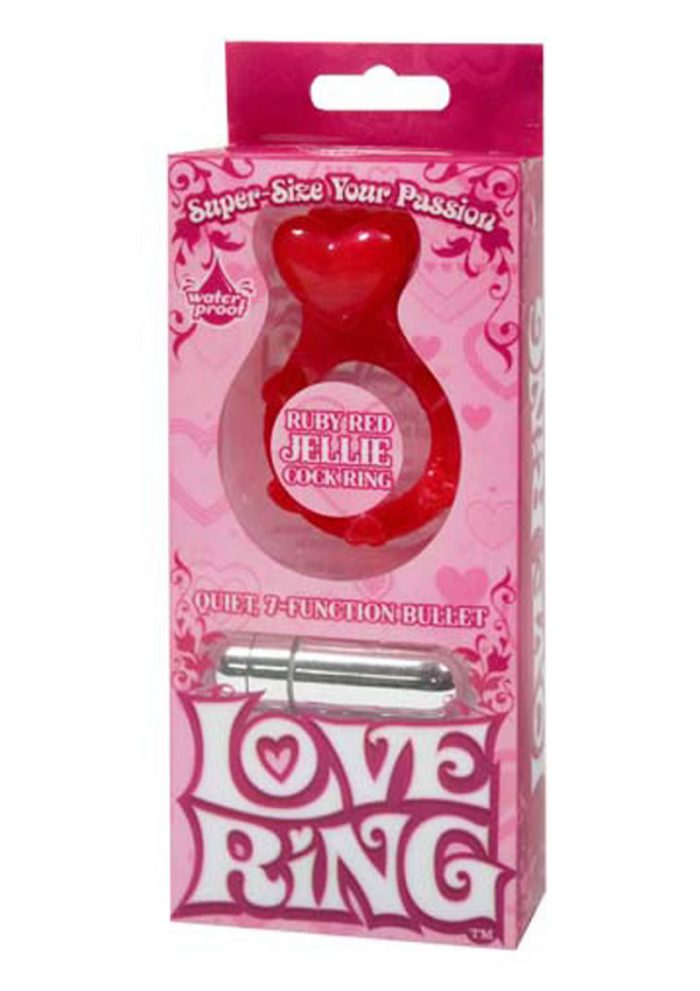 Love Ring Jellie Cock Ring With Bullet Waterproof Ruby Red