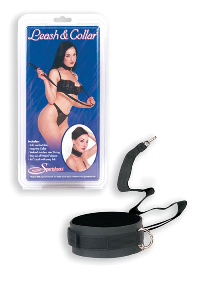 Leather Leash And Collar Black