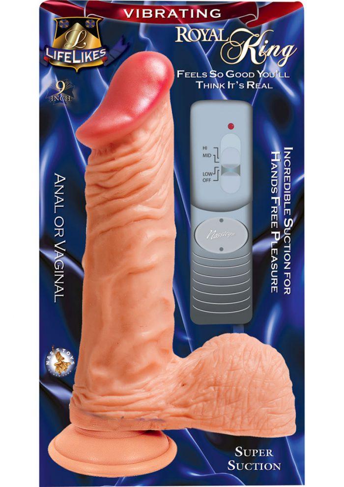 Lifelikes Vibrating Royal King Vibrator 9 Inch Flesh