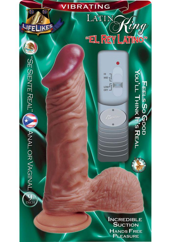Lifelikes Vibrating Latin King Vibrator 9 Inch Flesh