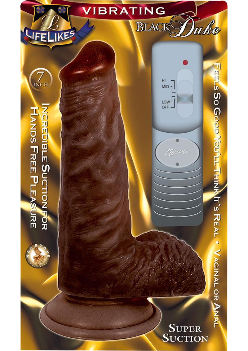 Lifelikes Black Vibrating Duke Vibrator 7 Inch Brown