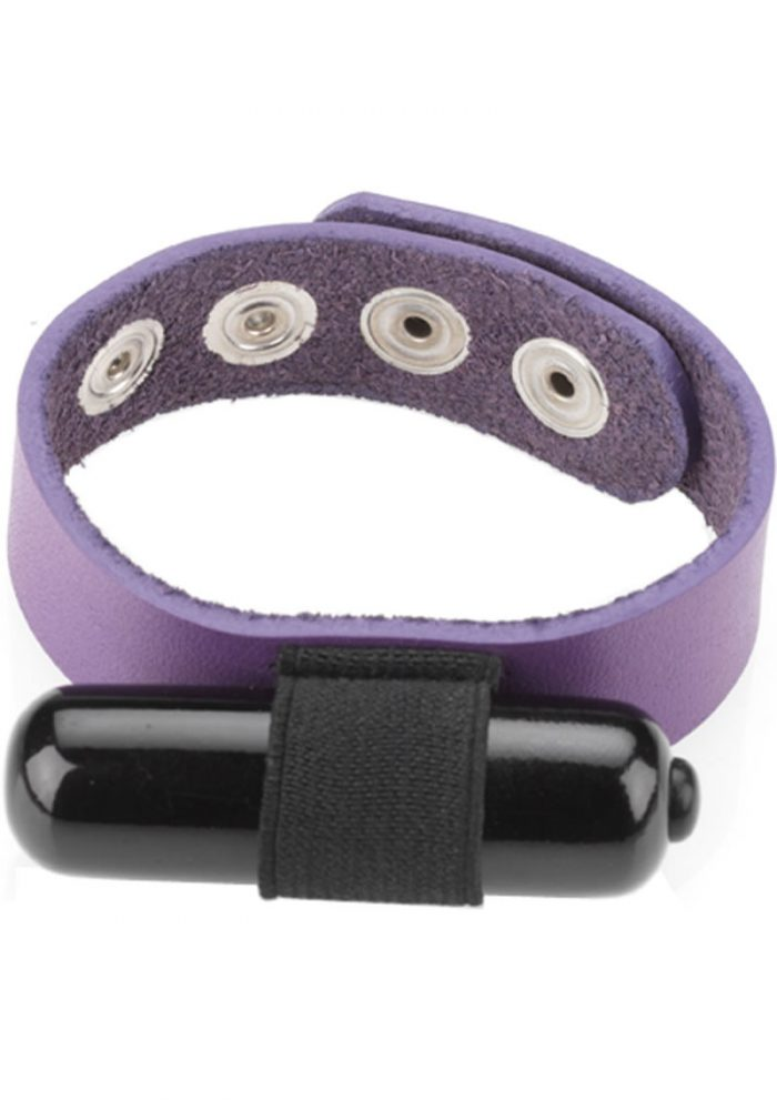Crave Multi Speed Vibrating Leather Cock Ring Purple