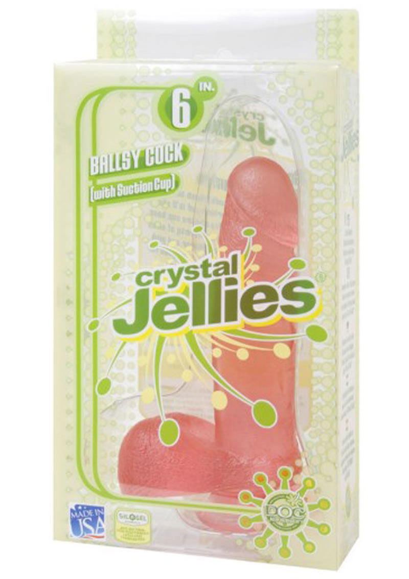 Crystal Jellies Ballsy Cock Sil A  Gel 6 Inch Pink