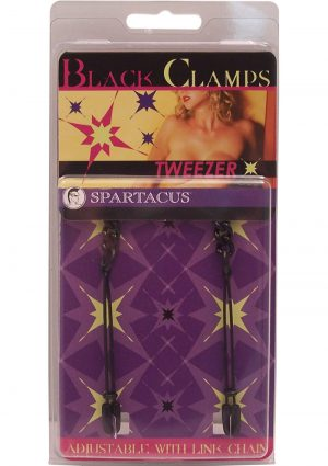 Black Tweezer Nipple Clamps Adjustable With Link Chain Black