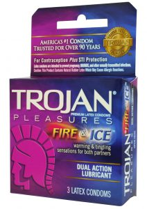Trojan Condom Pleasures Fire and Ice Dual Action Lubricant 3 Pack
