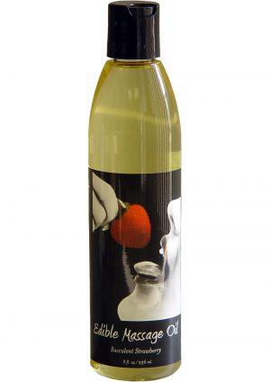Edible Massage Oil Succulent Strawberry 8 Ounce