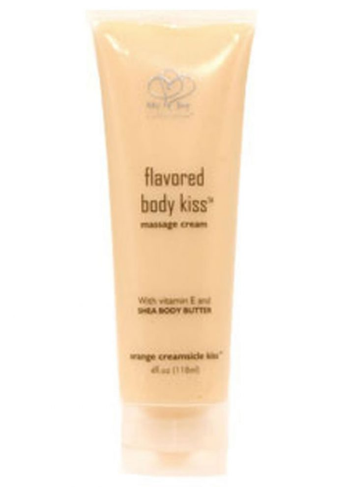 Flavored Body Kiss Water Based Massage Cream Orange Cream 4 Ounce