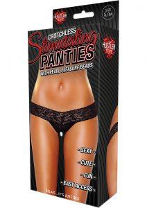 Hustler Toys Crotchless Stimulating Panties Thong With Pearl Pleasure Beads Black Medium/Large