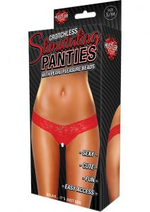 Hustler Toys Crotchless Stimulating Panties Thong With Pearl Pleasure Beads Red Small/Medium