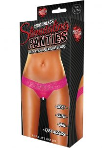 Hustler Toys Crotchless Stimulating Panties Thong With Pearl Pleasure Beads Pink Small/Medium