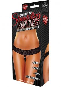 Hustler Toys Crotchless Stimulating Panties With Pearl Pleasure Beads Black Small/Medium