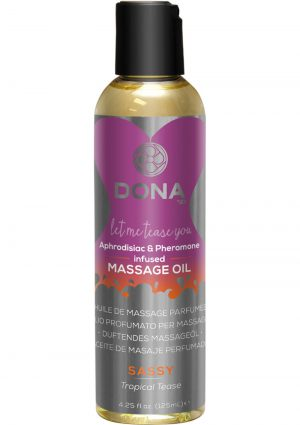 Dona Aphrodisiac and Pheromone Infused Massage Oil Sassy Tropical Tease 4.25 Ounce