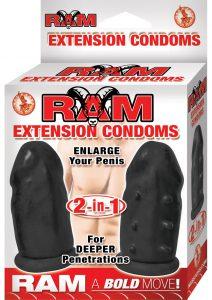 Ram Extension Condoms Latex Extender Sleeves Black 2 Each Per Box