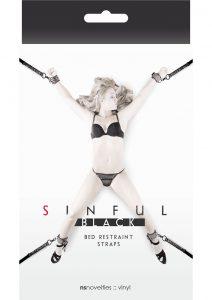 Sinful Black Vinyl Bed Restraint Straps Black