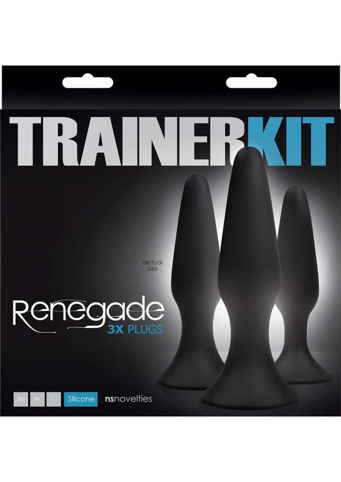 Renegade Trainer Anal Plug Kit Black 3 Each Per Set