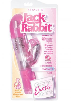 Triple G Jack Rabbit Triple Moter Vibe Waterproof Pink 5 Inch