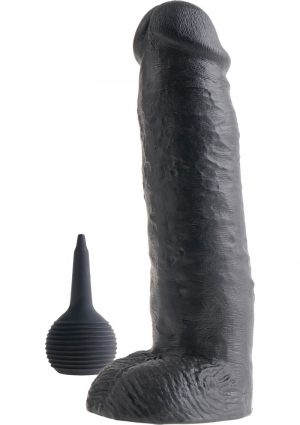 King Cock Squirting Dildo With Balls Dildo Waterproof Black 11 Inches
