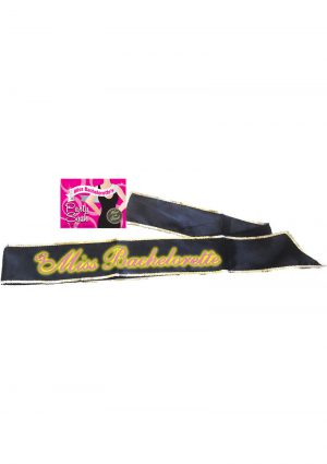 Miss Bachelorette Glow In The Dark Party Sash Black 6 Foot