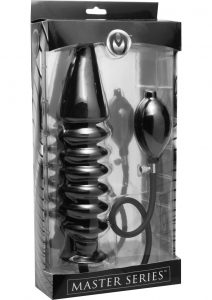 Master Series Accordion Inflatable Xl Anal Plug Black 14.5 Inch