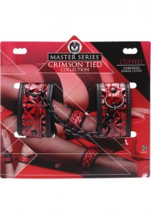 Master Series Embossed Ankle Cuffs With Chain Red 3 - 4.75 Inches