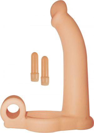 Double Penetrator Studmaker Silicone Cockring Flesh