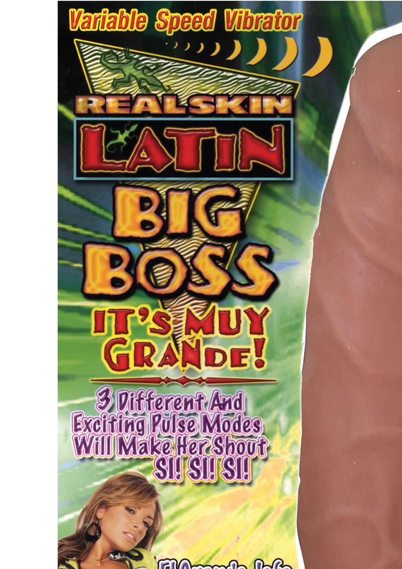 Real Skin Latin Big Boss Vibrator Brown 8 Inch