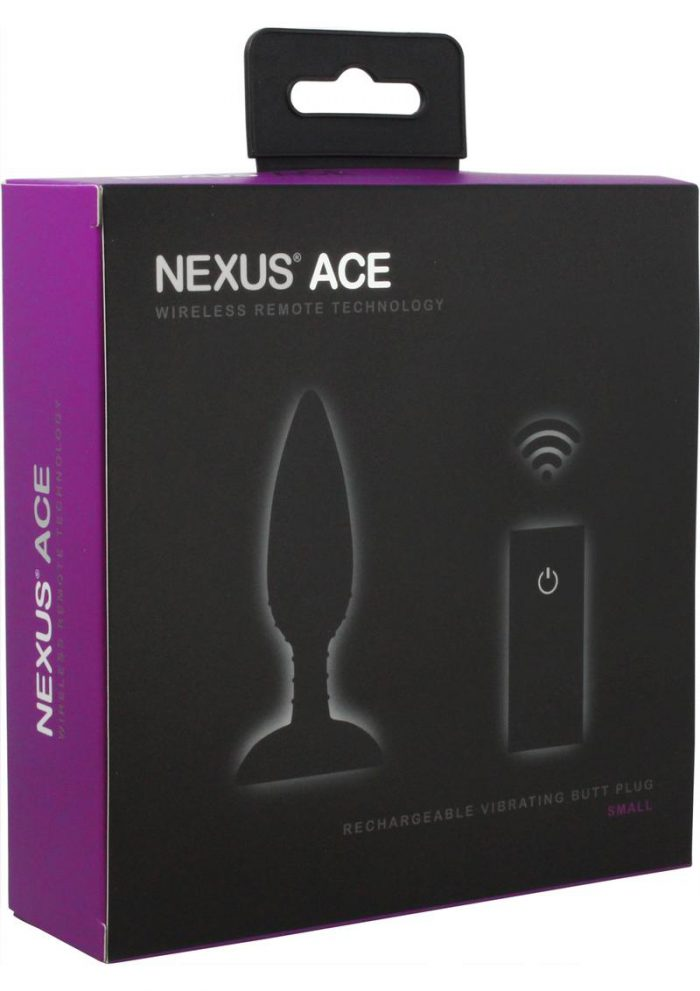 Nexus Ace Wireless Remote Rechargeable Vibrating Silicone Butt Plug Waterproof Black Small