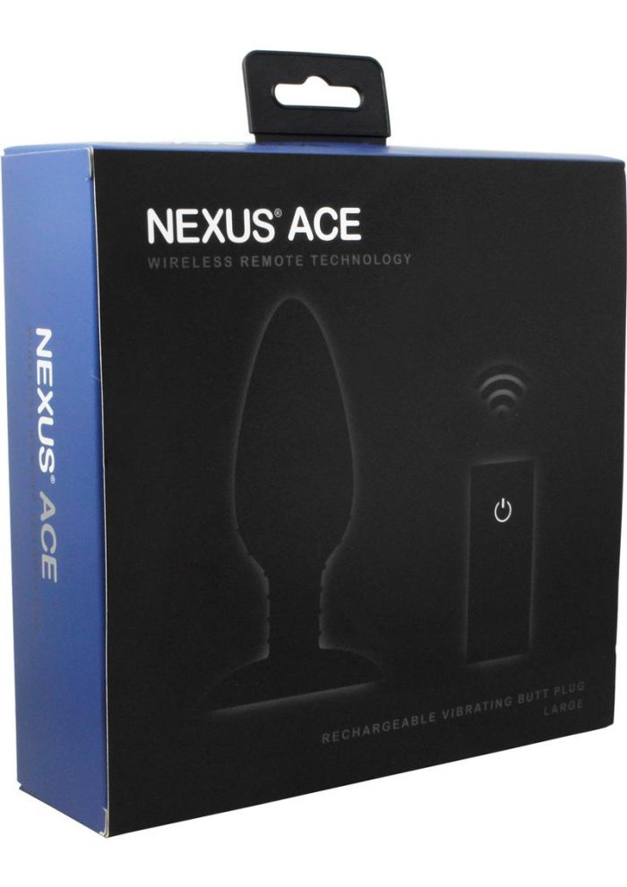 Nexua Ace Wireless Remote Rechargeable Vibrating Silicone Butt Plug Waterproof Black Large