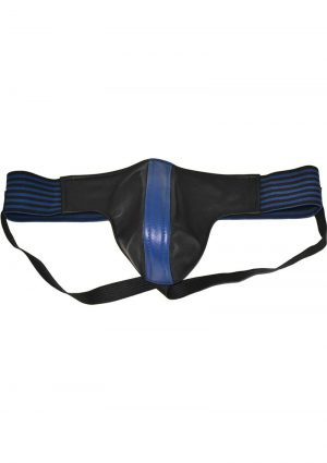 Rouge Leather Jock Strap With Stripes Blue And Black Medium