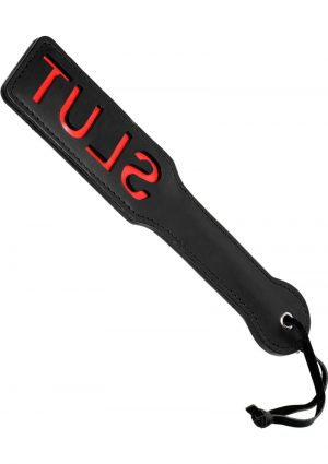 Master Series Crimson Tied Collection Slut Steel Enforced Faux Leather Spanking Paddle Black 12.5 Inch