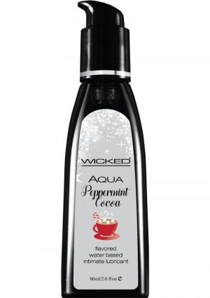Wicked Aqua Flavored Water Based Intimate Lubricant Peppermint Cocoa 2 Ounce