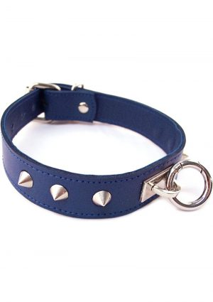 Rouge O Ring Studded Leather Collar Blue
