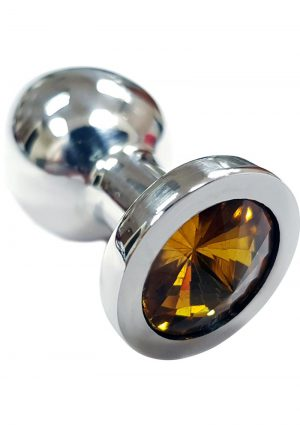 Rouge Jewelled Anal Butt Plug Small Stainless Steel Yellow Jewel
