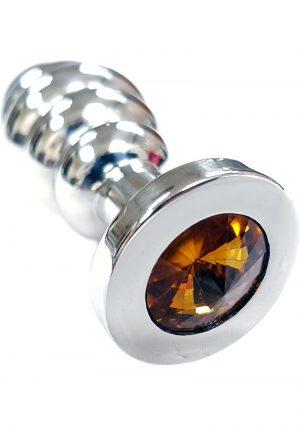 Rouge Jewelled Threaded Anal Butt Plug Medium Stainless Steel Yellow Jewel
