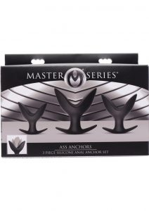 Master Series Ass Anchors Silicone Anal Anchor 3 Piece Set Black
