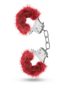 Temptasia Plush Fur Cuffs Adjustable Furry Hand Cuffs Stainless Steel With Keys Burgandy