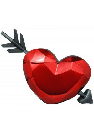 Heart Cup With Plastic Arrow Straw Red Holds 16 Ounces