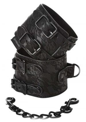 Sincerely Sportsheets Lace Double Strap Handcuffs Black