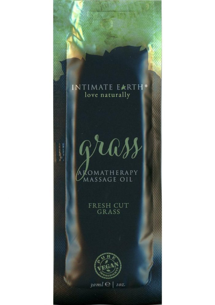 Intimate Earth Grass Aromatherapy Massage Oil Fresh Cut Grass Foil Pack 1 Ounce