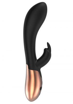 Elegance Opulent Dual Motor Silicone Magnetic USB Rechargeable Heating Rabbit Vibrator Black 7.99 Inch