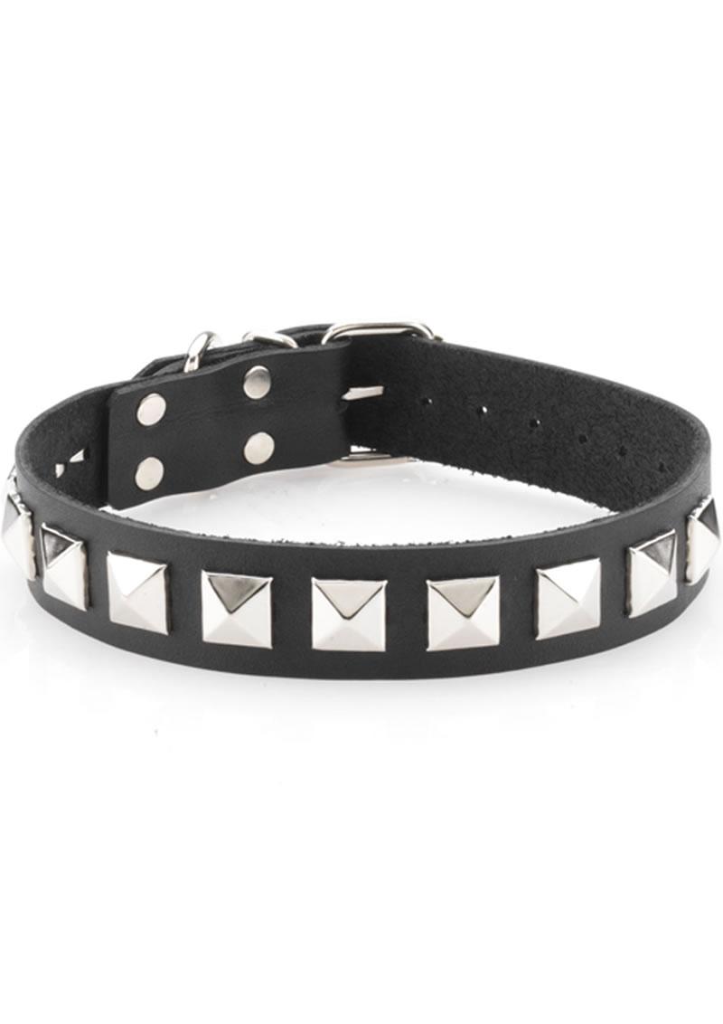 Single Strap Studded Leather Collar Black