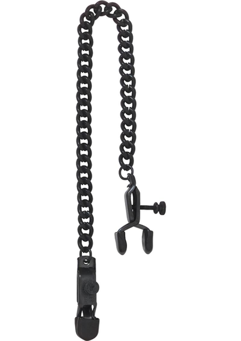 Blackline Adjustable Open Wide Nipple Clamps Black