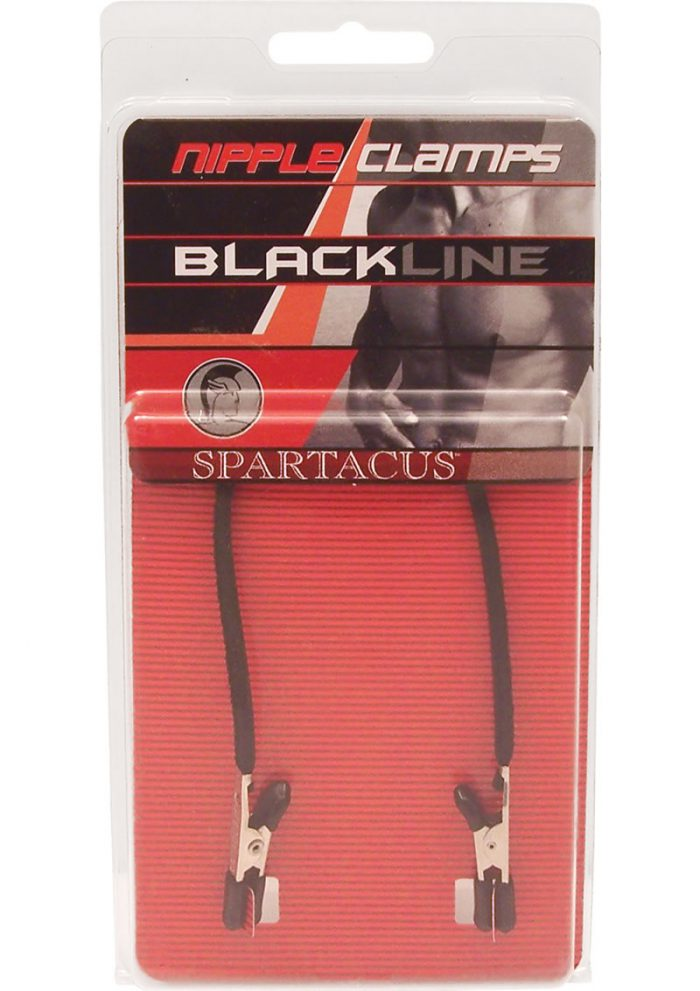 Blackline Endurance Teaser Nipple Clamps With Leather Tether Black
