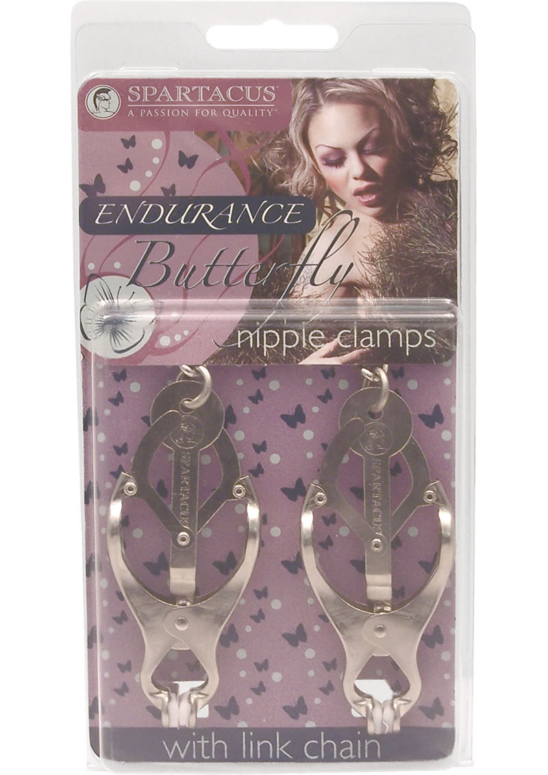 Endurance Butterfly Nipple Clamps With Link Chain Silver