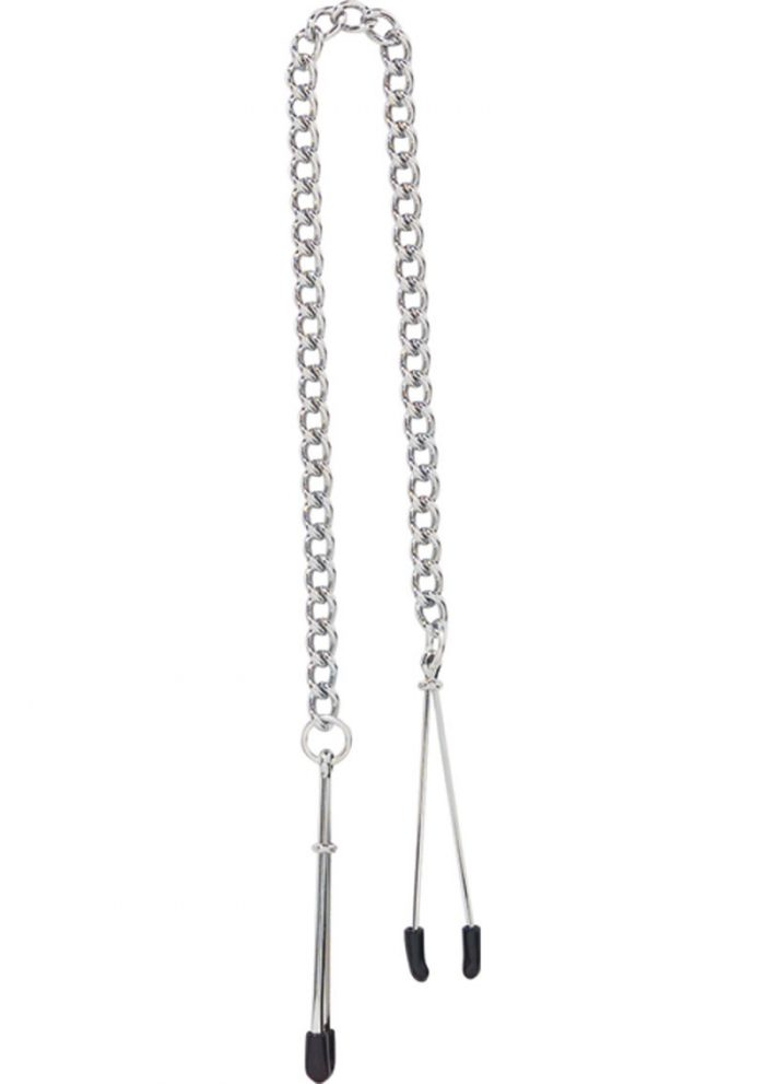 Adjustable Tweezer Nipple Clamps With Link Chain Silver
